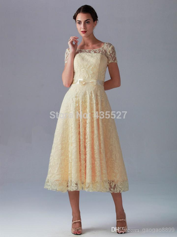2016 Light Yellow Bridesmaid Dresses Vestidos High Neck Lace And Satin Short Sleeve Mid Calf Wedding Party Prom Gowns Wj603 In From