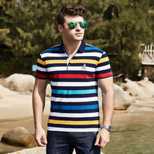 Shark polo shirt men European American style Tace Shark brand mens polo homme striped business casual