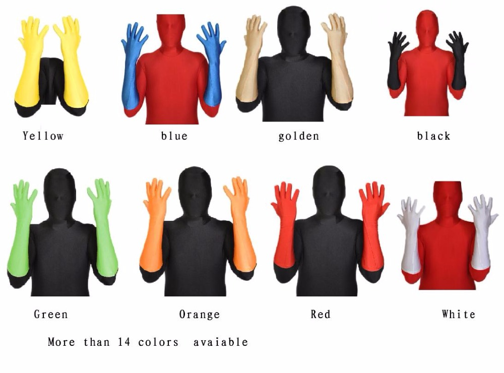 Lycra Spadex Zentai Elbow Zentai Gloves Costume Halloween Party Superhero please contact with us if you want any other colors