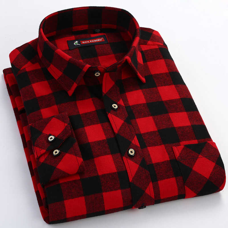 Men's Red/black Plaid Checked Brushed Flannel Shirt with Chest Pocket Casual Long Sleeve Slim-fit Button Down 100% Cotton Shirts