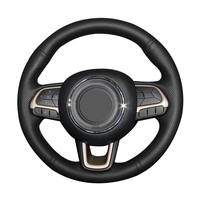 Hand stitched Black Genuine Leather Anti slip Car Steering Wheel Cover for Jeep Compass 2017 Renegade 2016 2017