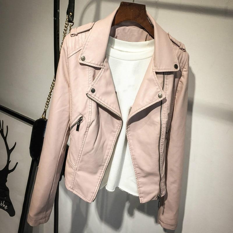 Fashion Pink PU   Leather   Jacket Motorcycle Ladies Short Spring Autumn Faux   Leather   Lapel Long Sleeve Coat Girls Moto Biker Jacket