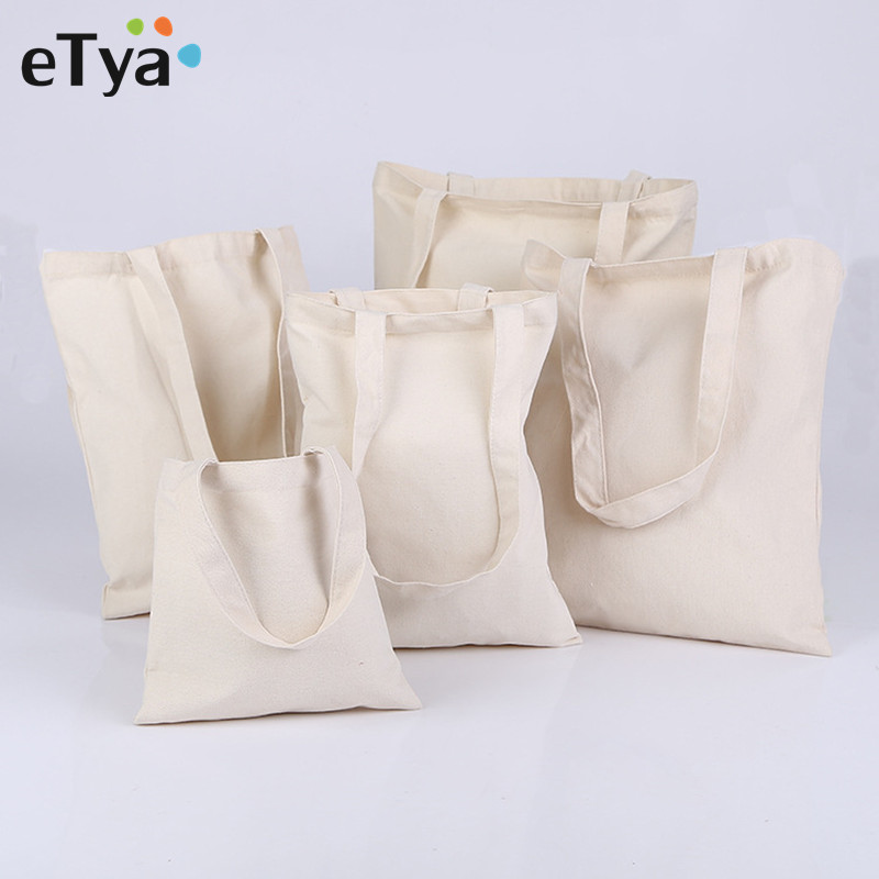 eTya Women Men Canvas Reusable Shopping Bag Eco Foldable Grocery Case Bags Tote Handbags Girl Solid Shoulder Bag etya women reusable shopping bag printing unisex foldable cotton drawstring grocery shopping bags hot sale case pouch