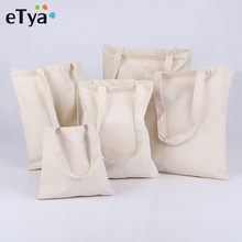 eTya Women Men Canvas Reusable Shopping Bag Eco Foldable Grocery Case Bags Tote Handbags Girl Solid Shoulder Bag(China)