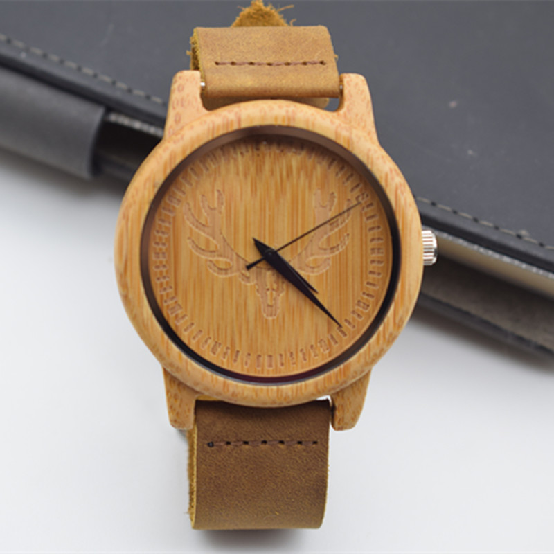 Top brand Men's Bamboo Wooden  Watch Quartz Real Leather Strap Men Watches With Gift Box For Christmas bobo bird top brand mens bamboo wooden elk deer wolf head watch quartz real leather strap men watches with gift box