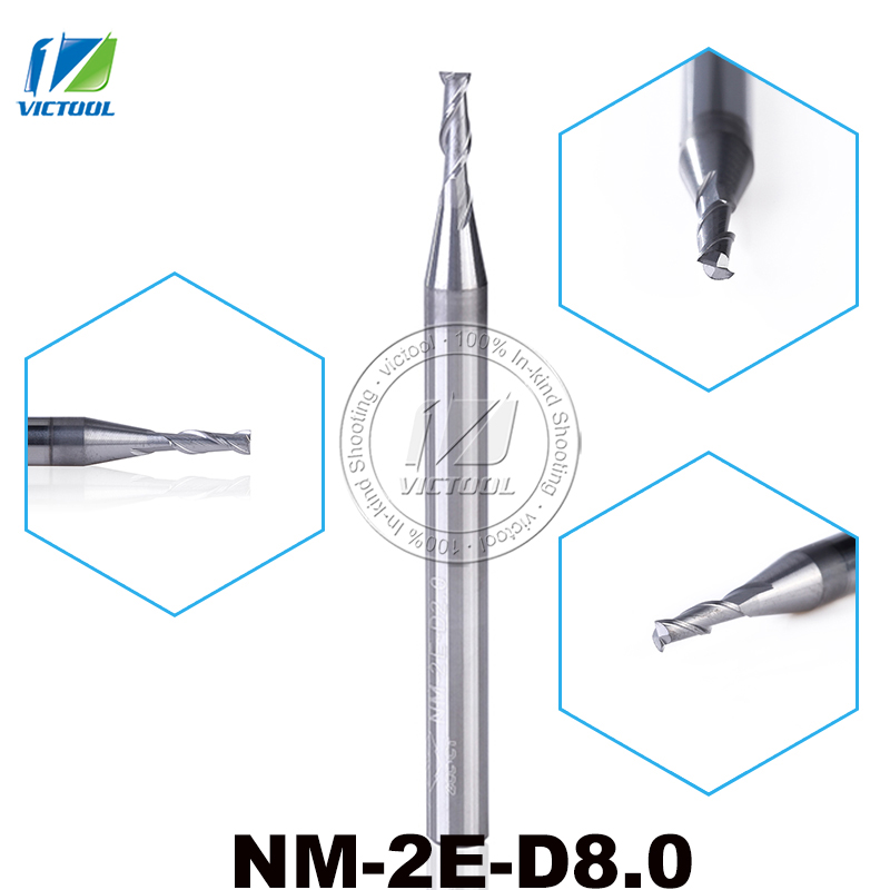 2pcs/lot NM-2E-D8.0  Carbide 2 Flute Flattened End Mills With Straight Shank Tungsten Milling Cutter Tools Machining Aluminum