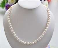FREE SHIPPING>>>@ P4461 lustre 18 10mm ROUND white Freshwater cultured PEARL NECKLACE ^^^@^Noble style Natural Fine jewe hot ne