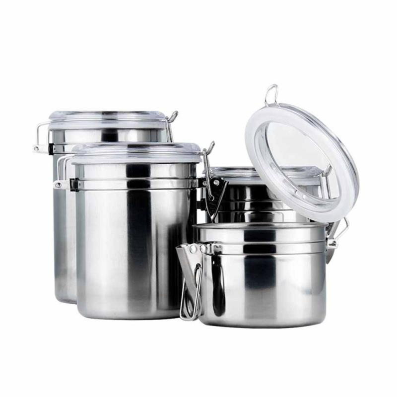 1Pcs Stainless Steel Sealed Cans Pots Storage Spice Jars with Transparent Covers Coffee Tea Candy Beans Milk Powder Food #20