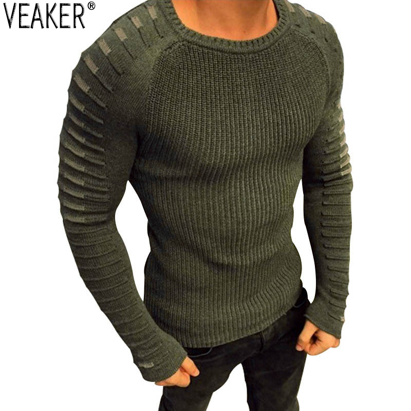 2019 New Men's Sexy Sweater Pullover Male Autumn Casual Round Neck Knitted Sweaters Pullovers Slim Fit Pleated Sweater Knitwear