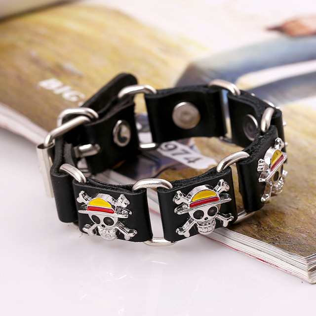 Anime One Piece Retro Cowhide Brasil Bracelet