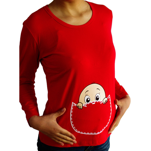 Grandwish Spring Long Sleeve Maternity Baby Peeking Out Pregnancy Plus Size T-Shirt Pregnant Women Tees Top Clothes L-XXL, SC278