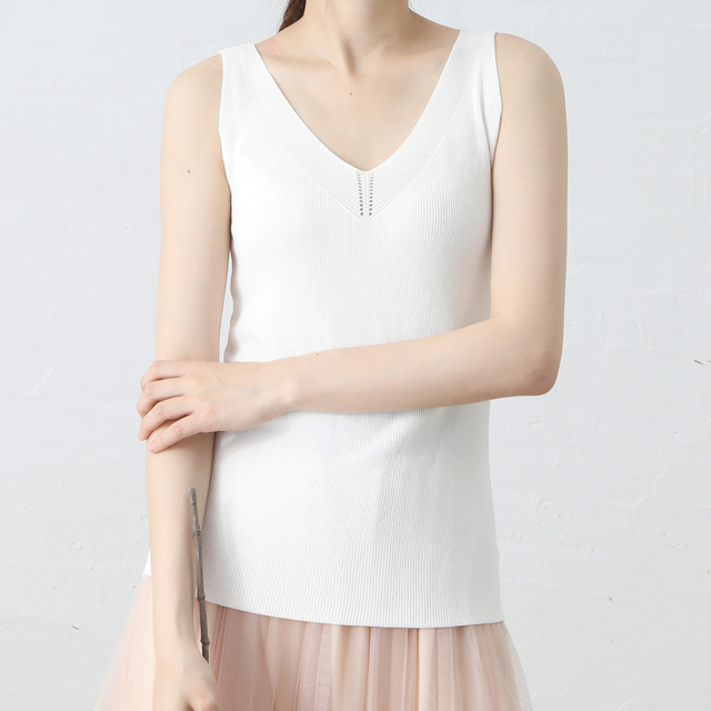 fb44c7020d58e3 Summer Ladies Knitting Linen Tank Tops Double V Neck Pure Color Strip Style  Camis Thin Cool Knitting Vest Dropshipping