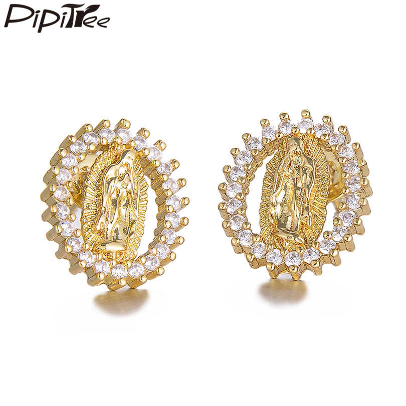 Pipitree Trendy Charm Virgin Mary Earrings Femme Shiny Cubic Zirconia Round Stud Earrings for Women Religious Fashion Jewelry