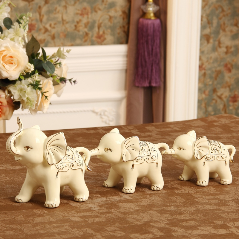 ceramic elephant family figurine porcelain animal statue feng shui gift and craft ornament for parents birthday and home decor - Elephant Home Decor