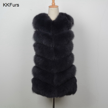 JKKFURS 2019 New Fashion Real Fox Fur Vest Women Winter Soft Coat Lady Gilet Thick Warm S1671