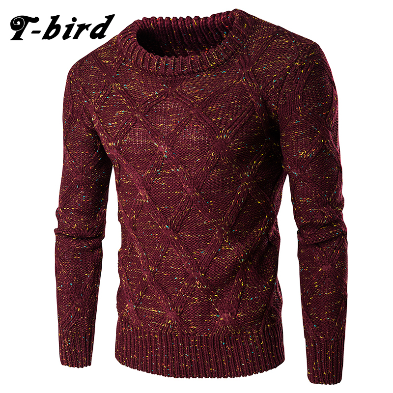 T-Bird Fashion Men Sweaters Pullovers Knitting Thick Warm Designer MenS Slim Fit Casual Knitted Man 2018 New winter Sweaters