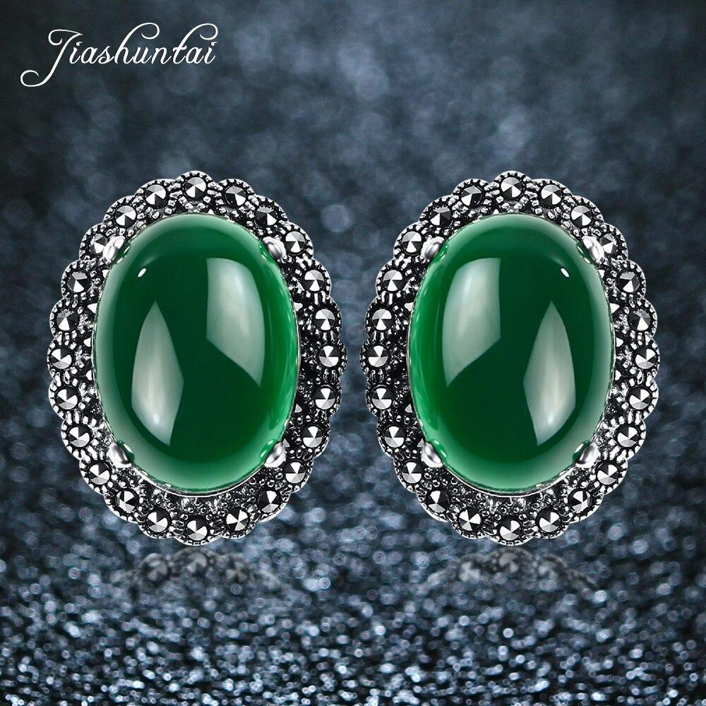 все цены на JIASHUNTAI Retro Silver Stud Earrings Oval Female Vintage 925 Sterling Silver Jewelry For Women Royal онлайн