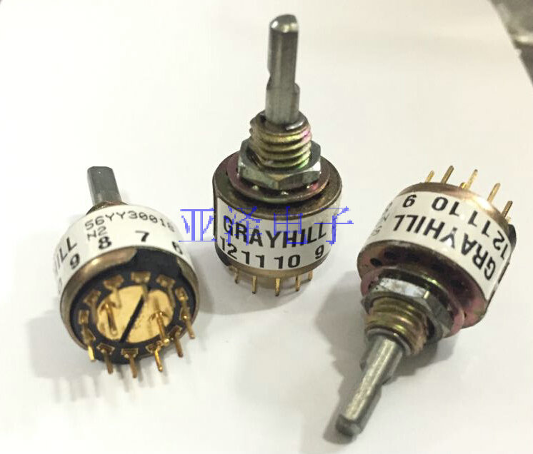 2PCS/LOT The original GRAYHILL rotary band switch, 360 degree 56YY30018 switch, 2 knife, 6 gear 2pcs lot american grayhill imports rotating band switch 56yy50127 double knife 5 gear