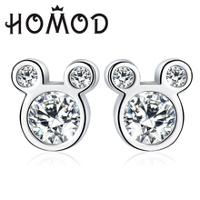 HOMOD Trendy Silver Color Dazzling Miky Mouse Push-back Stud Earrings Fits Brand Earring for Women & Girls Wedding Jewelry