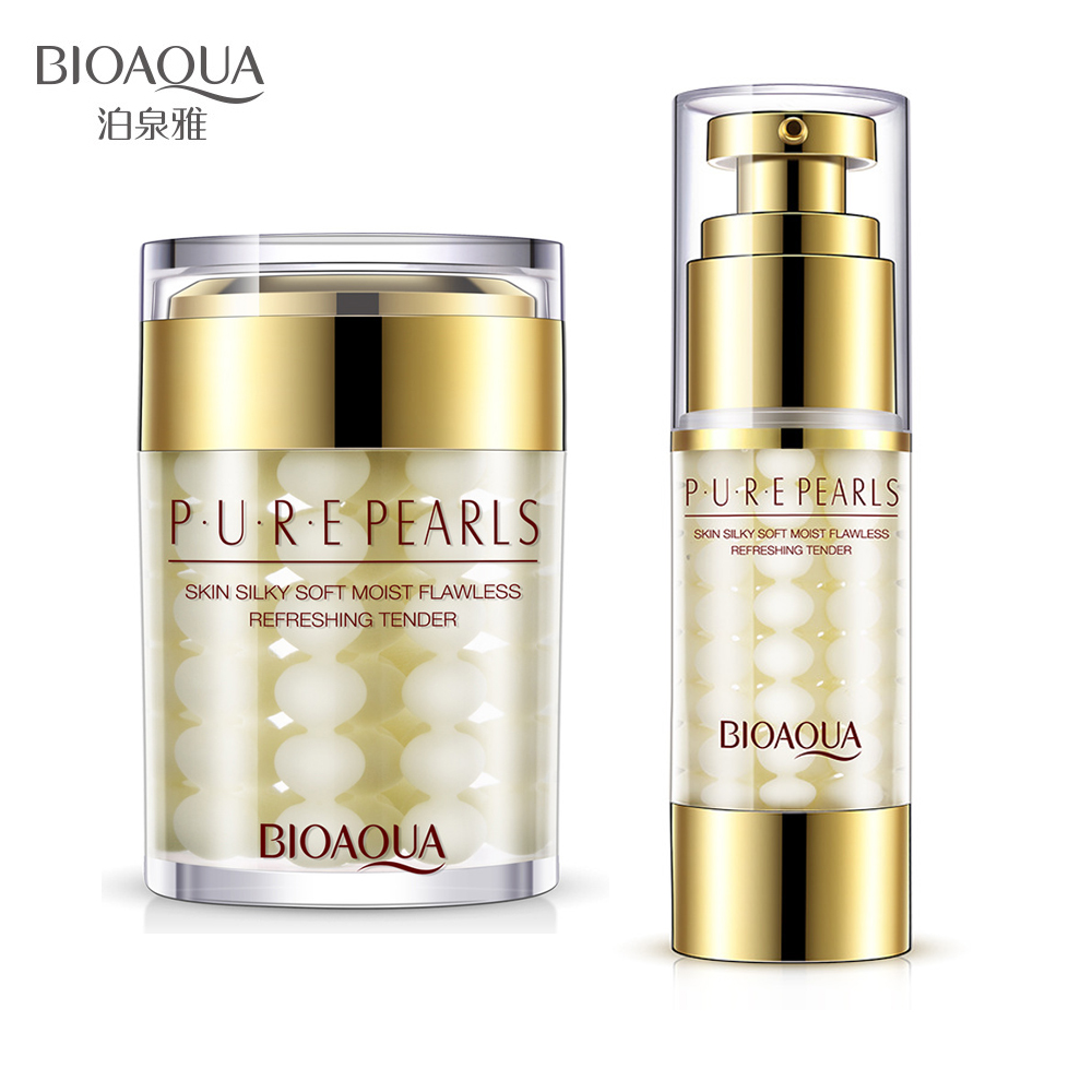 BIOAQUA Pure Pearl Collagen Hyaluronic Acid Serum + Essence Face Cream Moisturizing Anti Wrinkle Whitening Cream Skin Care Set best selling pure collagen skin whitening pearl pow der exported to worldwide 1kg