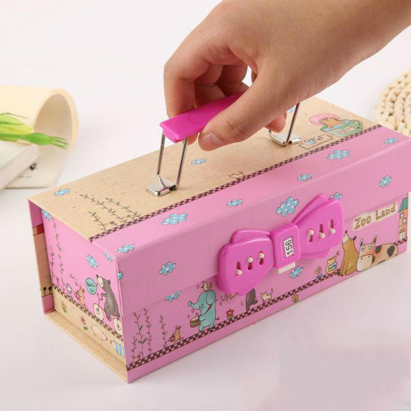 3 Layer Portable Password Lock Pencil-box Student Cartoon Male And Female Multifunctional Stationery Pen Bag Pencil Case