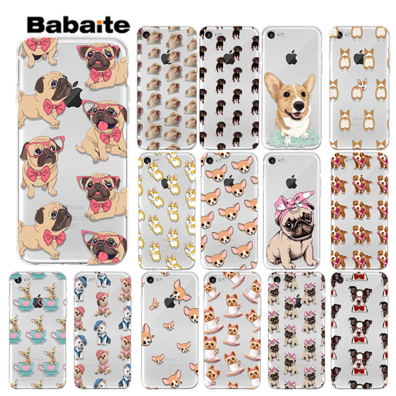 Babaite Cute Cartoon Dog Puppy Pug for Phone Case For iphone 6 Case Protect Back Cover For iphone 5 5S SE 6 6S 7 8 Plus in Half wrapped Cases from Cellphones Telecommunications