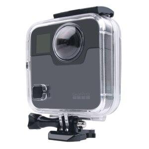 Image 4 - 40 M مثبت مضاد للماء حالة الباب الخلفي ل Gopro الانصهار 360 كاميرا تحت الماء مربع ل الذهاب برو الانصهار عمل كاميرا الملحقات