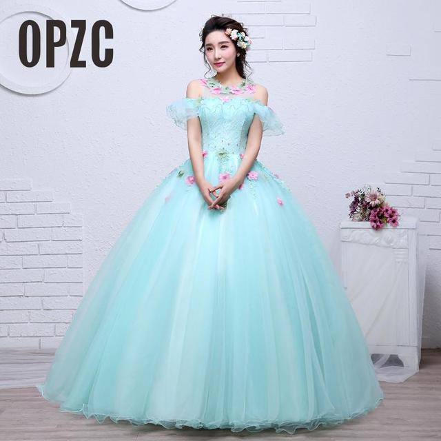c74abce51161 Organza Colorato Abito Da Sposa 2017 Nuovo Stile Coreano Sweetheart Neck  Verde con fiore rosa Principessa