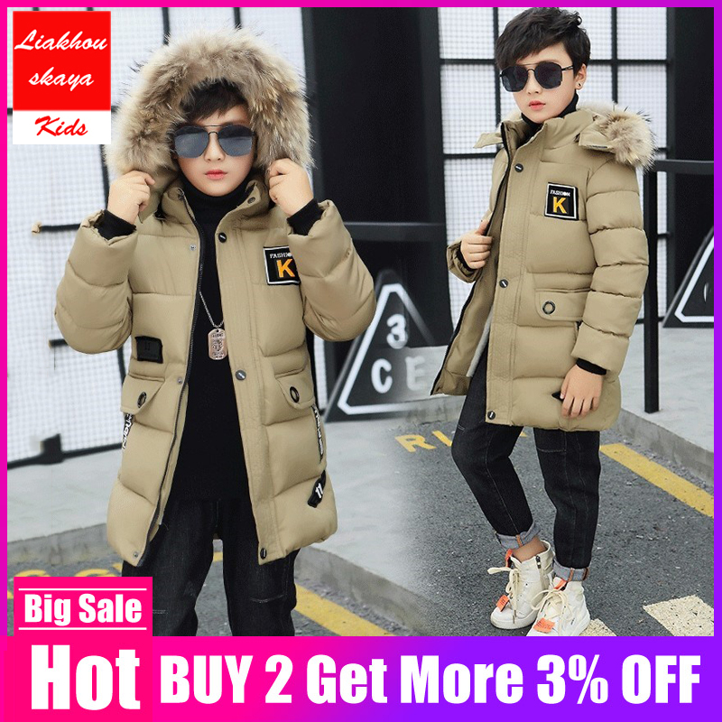 2019 New Winter Kids Jacket For Boys Teenage Fur Hooded Long Coat Parka Thicker Cotton -30 Russia Overcoat Clothes For Children(China)