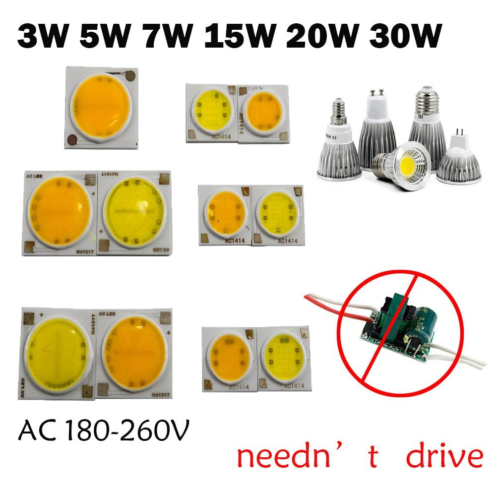 10pcs 220v Led COB 3W 5W 7W 15W 18W 20W 30W Integrated IC Driver For Spot Light Bulb Ceiling Lamp Down Light LED COB Chip Lamp