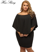 Hua Shang Women Summer Off Shoulder Dress Elegant Slash Neck Ruffles Slim Bodycon Party Dress Female