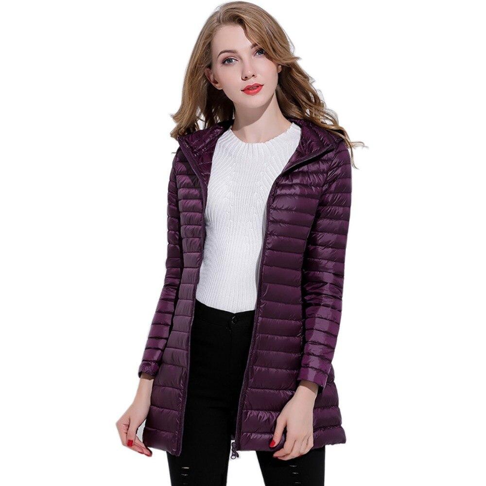 2018 New Winter Long Jackets Women Duck Warm   Down     Coats   Spring Autumn Outwear   Coat   Women's Ultra Light Hooded Parka   Coats   Ladies