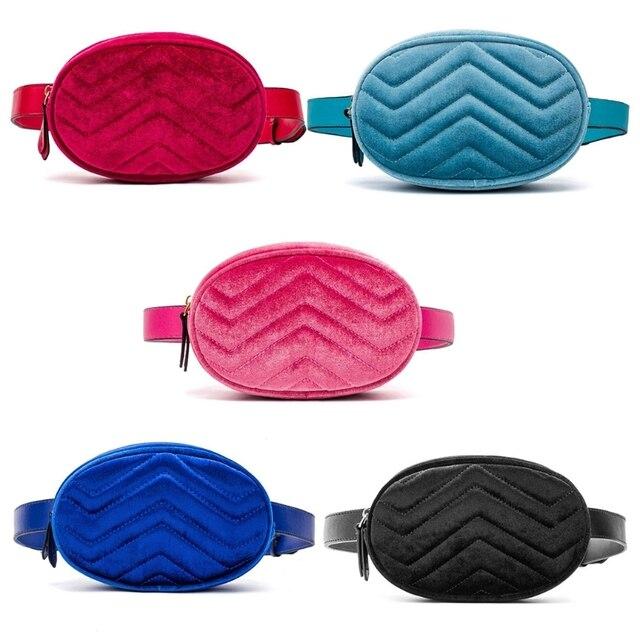 NoEnName_Null High Quality Leather Waist Fanny Pack Women Leather Velvet Belt Zipper Waist Bag Travel Wallet Beach