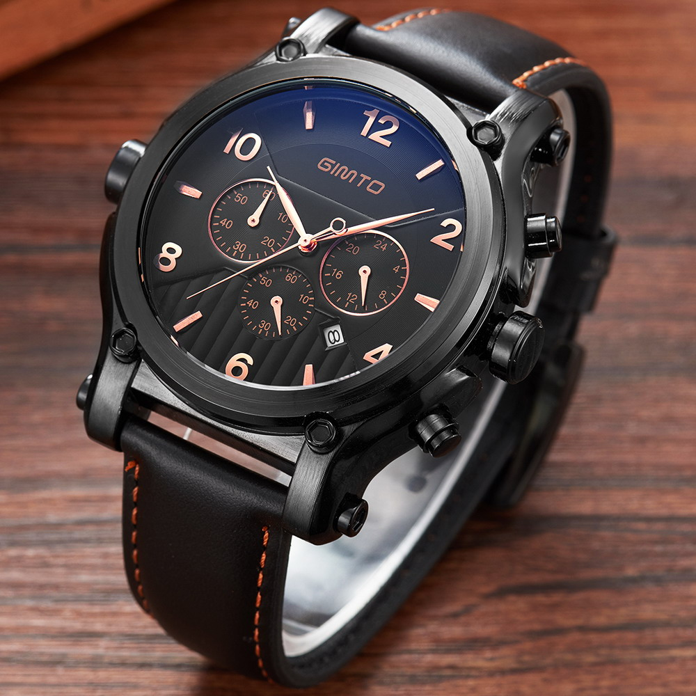 GIMTO 2017 Chronograph Date Men's Watch 3 Workable Sub-dials Quartz Sport Watch Military Watch Men Wristwatch relogio masculino moers 3tm relogio mj8010 3