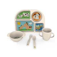 Kids Food Tray Bowl Baby Training Baby Cook Plate Children Easy Dish Free Bpa Bamboo Design
