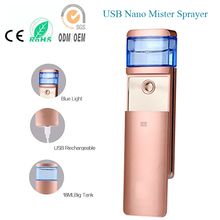 2pcs/lot Free Shipping USB Rechargeaable Cold Nano Ion Handy Mist Spray Facial Steamer For Office Lady Face Eye Beauty Care Tool