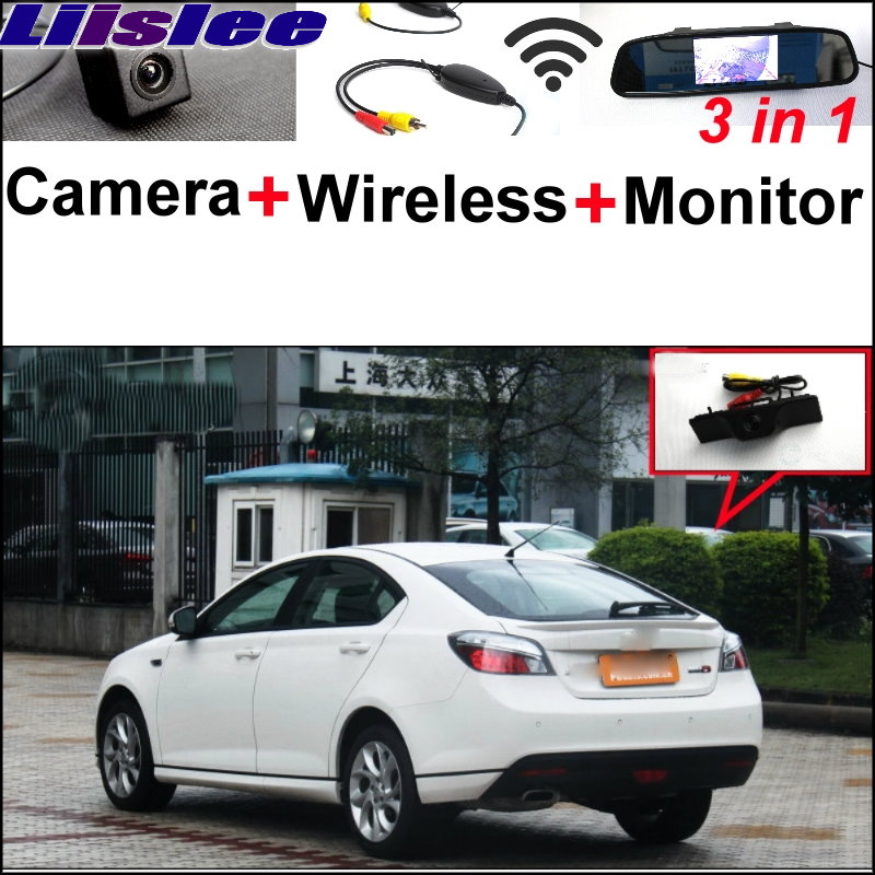 Liislee 3 in1 Special Camera + Wireless Receiver + Mirror Monitor Easy DIY Backup Parking System For Morris Garages MG6 MG 6 3 in1 special rear view camera wireless receiver mirror monitor easy diy backup parking system for jeep liberty 2002 2007