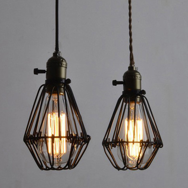 Online shop laingderfu iron vintage wire lamp cage diy industrial laingderfu iron vintage wire lamp cage diy industrial lampshade lamp cage for bedroom dining room black nordic lamp cover greentooth Choice Image