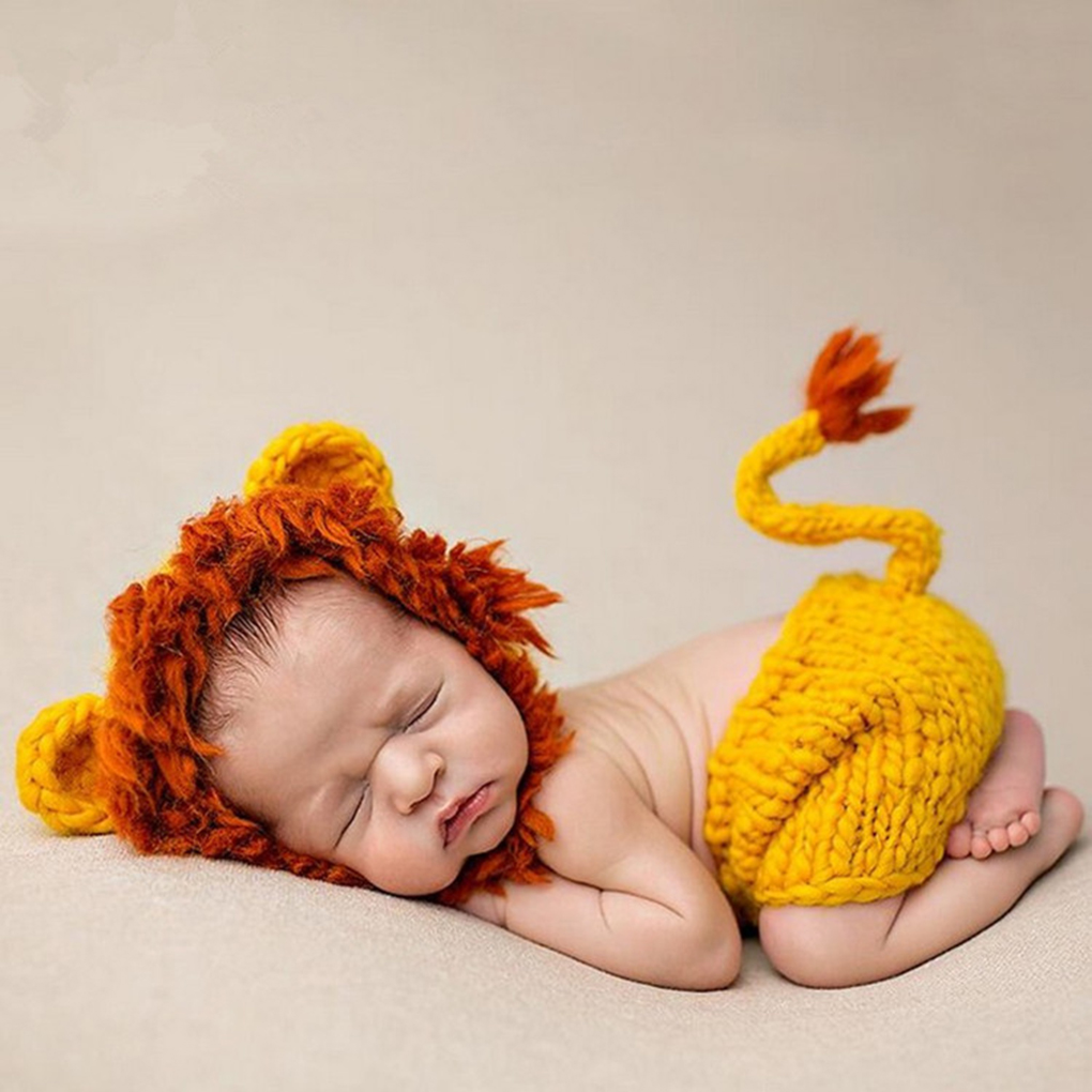 <font><b>New</b></font> <font><b>Born</b></font> <font><b>Baby</b></font> Handmade Animal Style <font><b>Photo</b></font> Prop Outfit <font><b>Clothes</b></font> Wool Knit Crochet Photography Animal Lion Clothing Accessories image