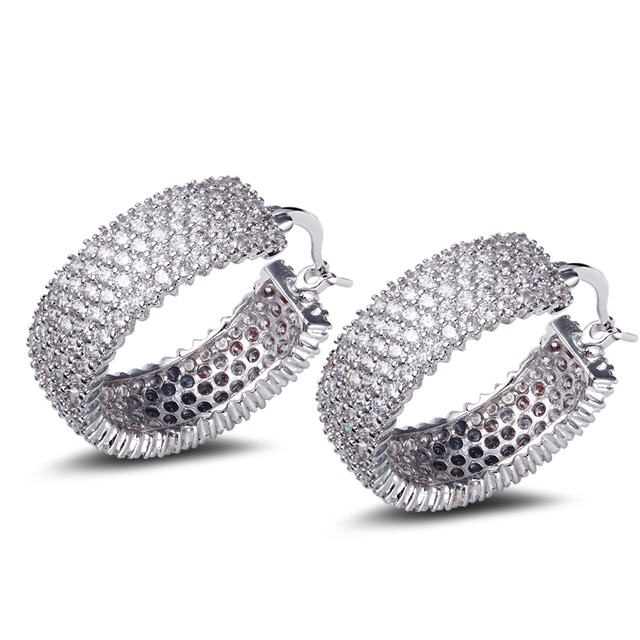 DC1989 New Look Luxury Hoop Earrings for Women Rhodium Plated Synthetic Cubic Zirconia Lead Free Ear Pins Anniversary for Gift
