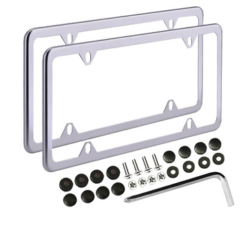 Car license plate frames 2 pcs with bolts washer screw caps for us standard slim metal.jpg 350x350