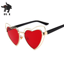 532734b26e FU E 2018 Heart Shaped sunglasses Woman Sun Glasses For Women Candy Color  Metal Frame Girl Sunglass Mirror Oculos Feminino UV400
