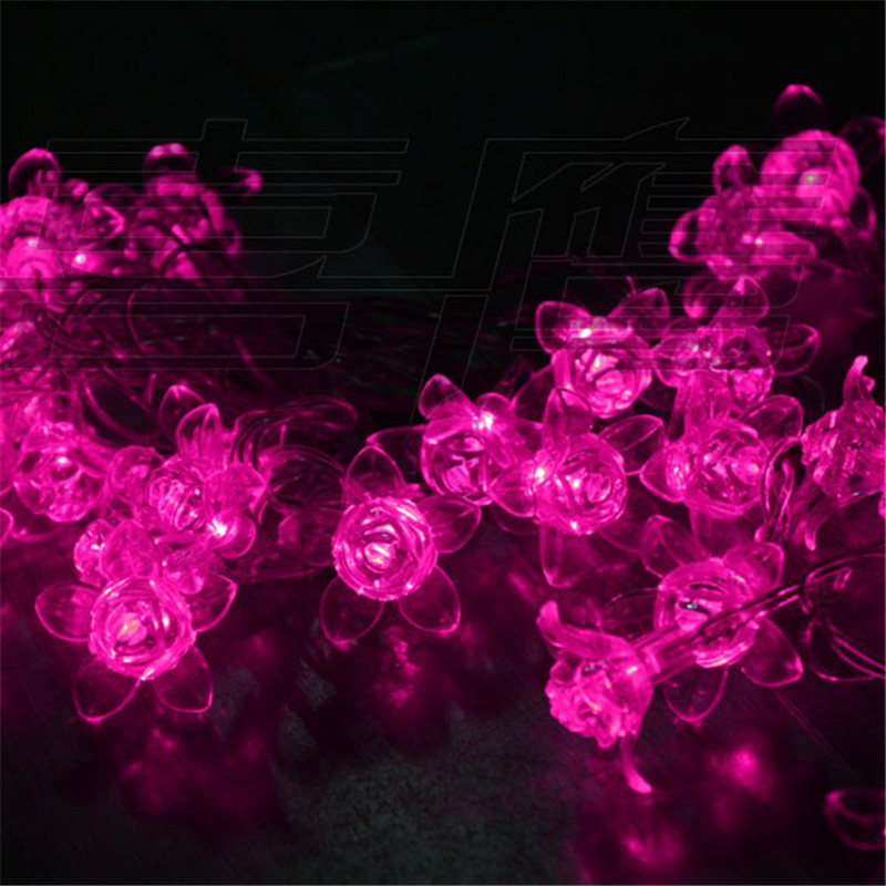 5 m Rose LED Holiday Lighting Strings Christmas Lights Garland Chandelier for Outdoor Fairy Wedding Home Garden Decoration led curtain lights holiday lighting 6 3 m garland fairy wedding party garden indoor outdoor new year christmas home decoration