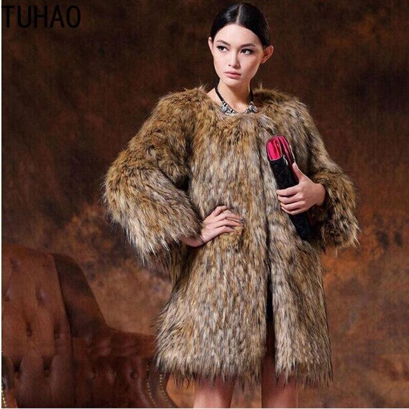 Taille 2018 Moelleux Veste Femmes Marron La Hiver Cru 5xl Renard Long Chaud Manteau Fourrure 4xl Brun Plus Faux De gxgOvHn