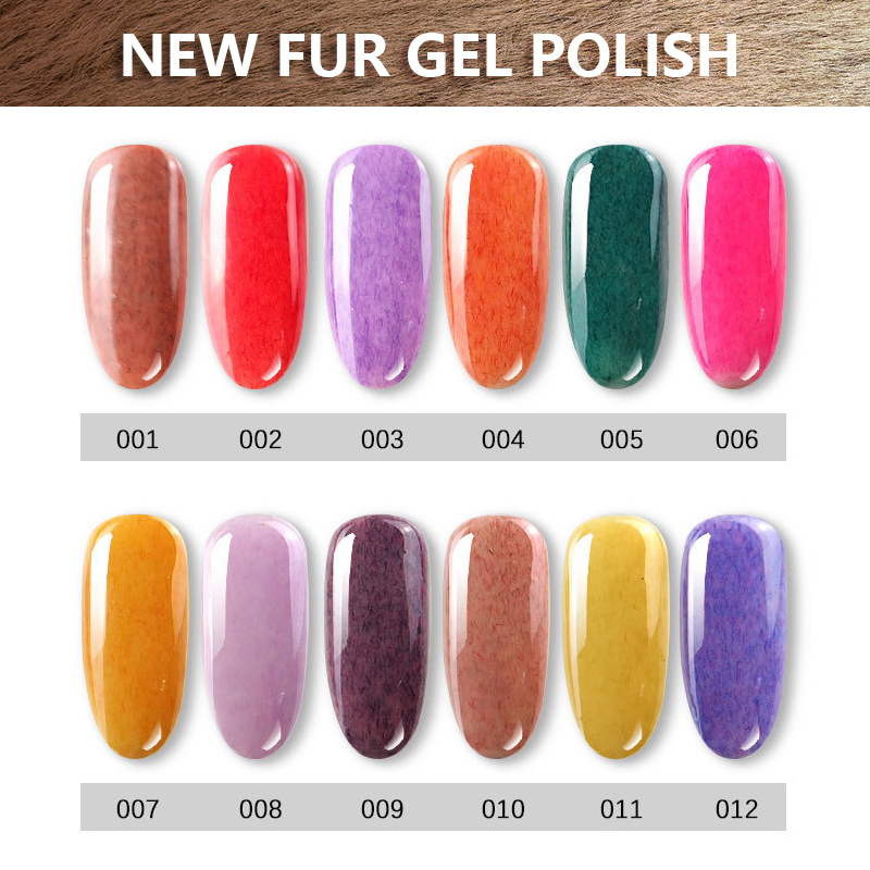 1 kg Faux Fourrure Effet Gel Vernis À Ongles Soak Off Nail Art Vernis UV LED Long-Durable 3D Gel laque 36 Couleurs