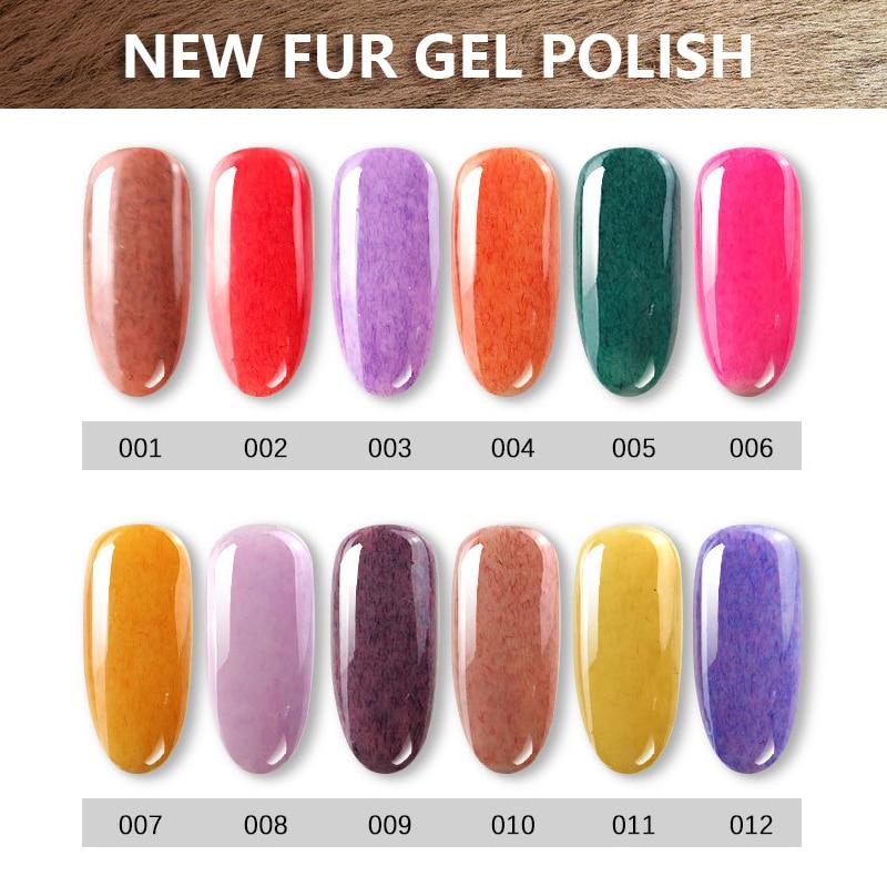 1kg Faux Fur Effect Gel Nail Polish Soak Off Nail Art Varnish UV LED Long-Lasting 3D Gel lacquer 36 Colors 15ml metallic mirror effect metal silver nail art polish varnish