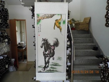 170CM Large HUGE TOP foreign business gift Home hall SHOP WALL Decorative Success horse monkey FENG SHUI art chinese painting