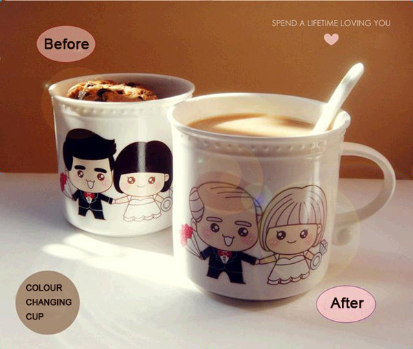 Ceramic Coffee Mug Wedding Gift Sweety Color Changing Creative Gift ...