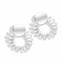 Luxury Female White Round Stud Earrings Fashion Wedding Jewelry Double Crystal Zircon For Women