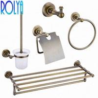 Rolya Antique Brass Wall Mount Bathroom Hardware Accessories Set Robe Hook Paper Holder Towel Racks Towel Rail